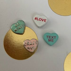 Origami Owl valentine candy heart charms set of 4